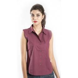 Zeme Organics Cotton Sleeveless Shirt for Women - Maroon