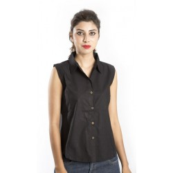 Zeme Organics Cotton Sleeveless Shirt - Black