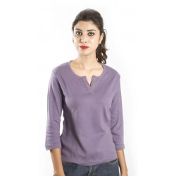 Zeme Organics Cotton 3/4th Sleeves T-Shirt - Purple