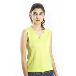 Zeme Organics Sleeveless T-Shirt with self Color Picoting on Neck - Light Green