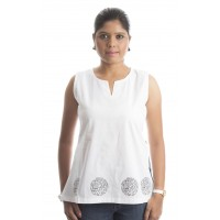Zeme Organics Ladies Sleeveless Printed Kurti - White