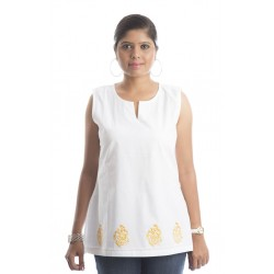 Zeme Organics Ladies Sleeveless Printed Kurti - White